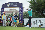 He Ping tees off the 1st hole during the World Celebrity Pro-Am 2016 Mission Hills China Golf Tournament on 21 October 2016, in Haikou, China. Photo by Weixiang Lim / Power Sport Images
