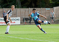 Luke O'Niel of Wycombe Wanderers scores his side's 3rd goal to make it 1-3 during the Friendly match between Maidenhead United and Wycombe Wanderers at York Road, Maidenhead, England on 30 July 2016. Photo by Alan  Stanford PRiME Media Images.