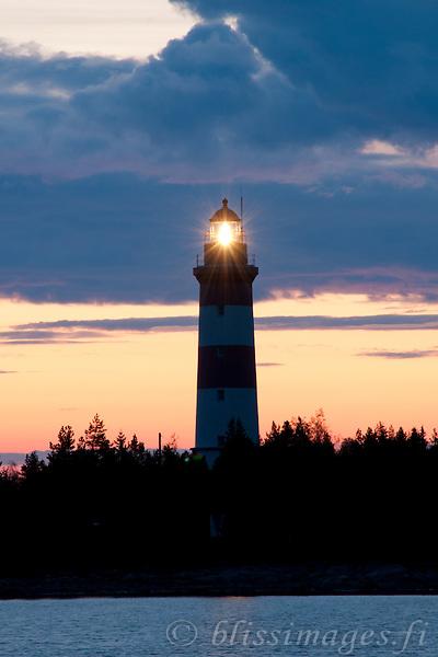 Sälgrund Lighthouse Light at Sunset -western Finland