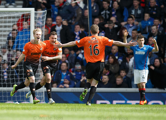 Gary Mackay-Steven celebrates the second goal for Dundee Utd