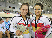 Southland Natasha Hansen,right, and Steph McKenzie at the BikeNZ Elite & U19 Track National Championships, Avantidrome, Home of Cycling, Cambridge, New Zealand, Sunday, March 16, 2014. Credit: Dianne Manson