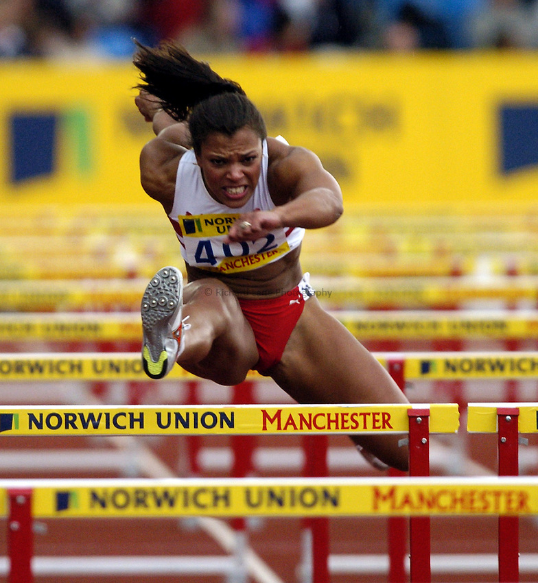 Photo: Richard Lane..Norwich Union Olympic and AAA Championships, Manchester Regional Stadium. 10/07/2004..Womens 100m Hurdles, Diane Allahgreen.