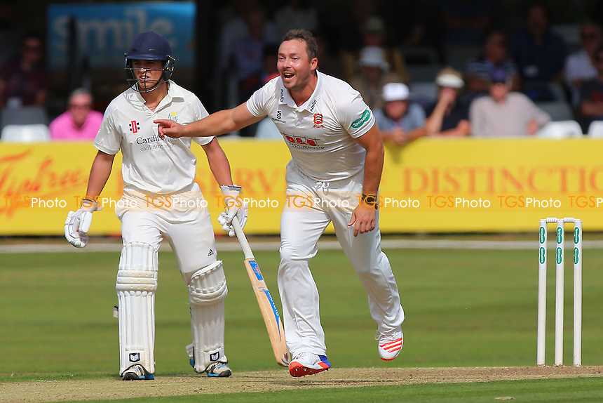 Graham Napier of Essex celebrates taking the wicket of Aneurin Donald during Essex CCC vs Glamorgan CCC, Specsavers County Championship Division 2 Cricket at the Essex County Ground on 12th September 2016