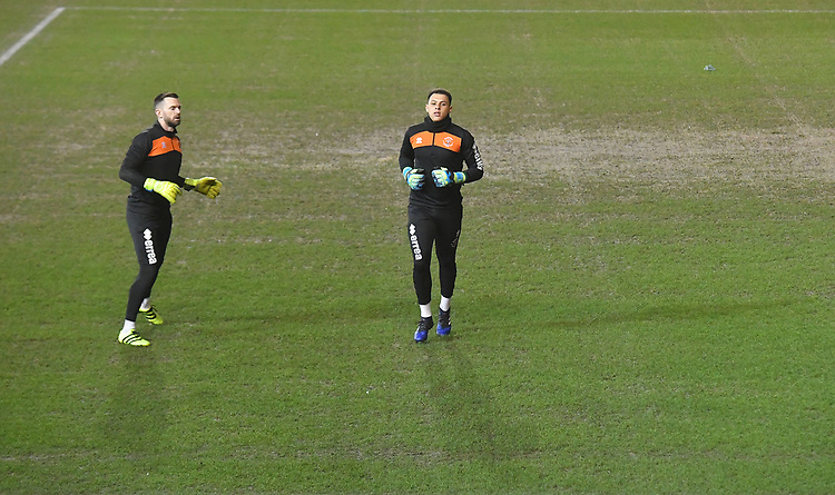 The goal keepers warm up<br /> <br /> Photographer Dave Howarth/CameraSport<br /> <br /> The EFL Sky Bet League One - Blackpool v Doncaster Rovers - Tuesday 12th March 2019 - Bloomfield Road - Blackpool<br /> <br /> World Copyright © 2019 CameraSport. All rights reserved. 43 Linden Ave. Countesthorpe. Leicester. England. LE8 5PG - Tel: +44 (0) 116 277 4147 - admin@camerasport.com - www.camerasport.com