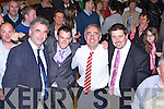 Michael Cahill welcomes Fianna Fails three newly elected councillors John Francis Flynn, John Joe Culloty and Niall Kelleher to the Kerry Council at the Killarney count on Sunday evening