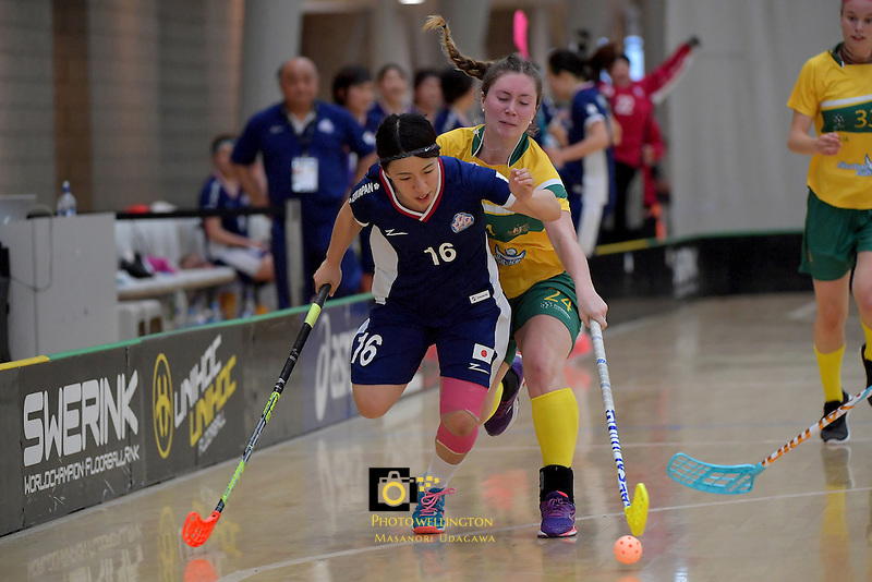 Japan's Hitomi Sugaya and Australia's Alexandra Staib in action during the World Floorball Championships 2017 Qualification for Asia Oceania Region Final - Australia v Japan at ASB Sports Centre , Wellington, New Zealand on Sunday 5 February 2017.<br /> Photo by Masanori Udagawa<br /> www.photowellington.photoshelter.com.