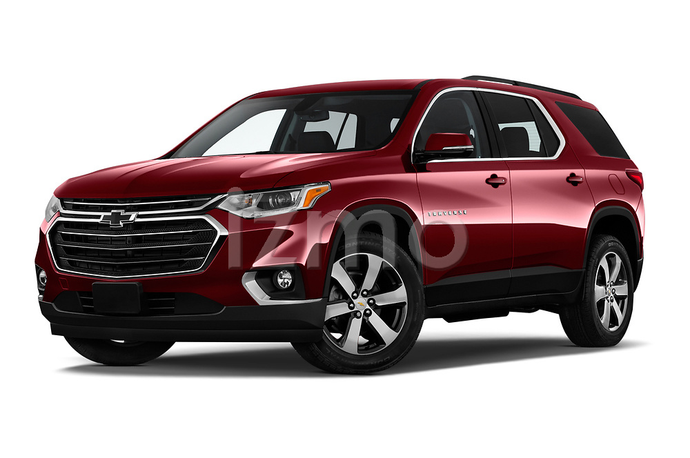 Stock pictures of low aggressive front three quarter view of a 2019 Chevrolet traverse 3LT 5 Door SUV