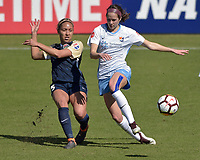 Cary, NC - Saturday March 31, 2018: Jaelene Hinkle, Shea Groom during a regular season National Women's Soccer League (NWSL) match between the North Carolina Courage and Sky Blue FC at Sahlen's Stadium at WakeMed Soccer Park.