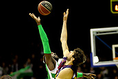 7th January 2018, San Pablo Sports Municipal Palace, Seville, Spain; Endesa League Basketball, Real Betis Energia Plus versus FC Barcelona Lassa; Anosike from Betis Plus and Tomic from Barcelona Lassa jump off at the start of the match