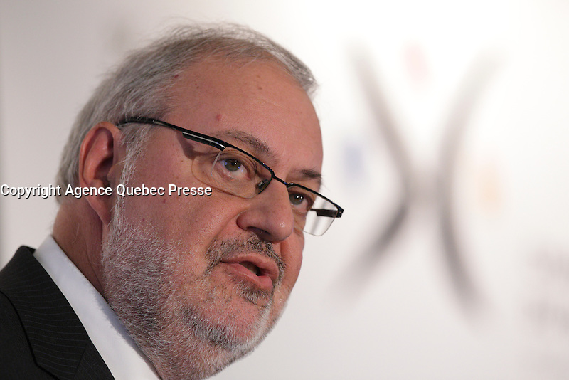 the Minister of Energy and Natural Resources, the Minister responsible for the Northern Plan and the Minister responsible for the Cote-Nord region, Pierre Arcand,present the Government of Quebec's 2030 Energy Policy and the major role that Montreal plays as a North American centre for renewable energy, April 15, 2016.<br /> <br /> <br /> Photo : Pierre Roussel - Agence Quebec Presse<br /> <br /> <br /> <br /> <br /> <br /> <br /> <br /> <br /> .