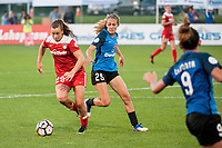 Kansas City, MO - Saturday May 27, 2017: Meggie Dougherty Howard, Brittany Ratcliffe during a regular season National Women's Soccer League (NWSL) match between FC Kansas City and the Washington Spirit at Children's Mercy Victory Field.