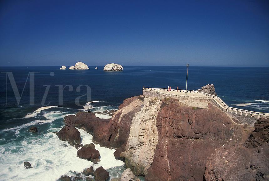 """AJ1864, Mexico, Mazatlan, ocean, coastline, Pacific Ocean, Scenic view of the coastline on the Pacific Ocean in Mazatlan """"""""Pearl of the Pacific"""""""" in the state of Sinaloa."""