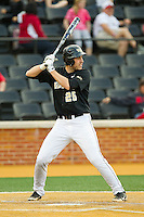 Matt Conway (25) of the Wake Forest Demon Deacons at bat against the North Carolina State Wolfpack at Wake Forest Baseball Park on March 16, 2013 in Winston-Salem, North Carolina.  The Demon Deacons defeated the Wolfpack 13-4.  (Brian Westerholt/Four Seam Images)
