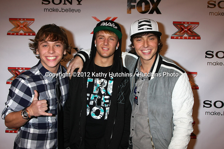 LOS ANGELES - DEC 6:  Emblem3 arrives to the X Factor 2012 Final Four Party at Rodeo Drive on December 6, 2012 in Beverly Hills, CA