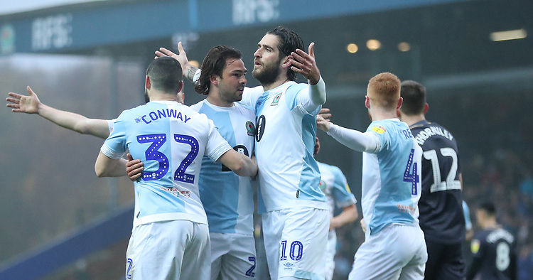 Blackburn Rovers' Danny Graham celebrates scoring his side's first goal <br /> <br /> Photographer Rachel Holborn/CameraSport<br /> <br /> The EFL Sky Bet Championship - Blackburn Rovers v Sheffield Wednesday - Saturday 1st December 2018 - Ewood Park - Blackburn<br /> <br /> World Copyright &copy; 2018 CameraSport. All rights reserved. 43 Linden Ave. Countesthorpe. Leicester. England. LE8 5PG - Tel: +44 (0) 116 277 4147 - admin@camerasport.com - www.camerasport.com