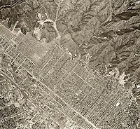historical aerial photograph Burbank, California, 1952