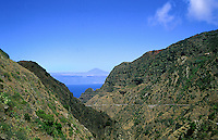 Mount Teide the highest mountain in Spain, viewed from La Gomera,Canary Islands.