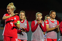 Charlie Estcourt (C) of Wales applauds the fans at the final whistle during the UEFA Womens Euro Qualifier match between Wales and Northern Ireland at Rodney Parade in Newport, Wales, UK. Tuesday 03, September 2019