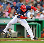 29 March 2008: Washington Nationals' outfielder Lastings Milledge is hit by a pitch during an exhibition game against the Baltimore Orioles at Nationals Park, in Washington, DC. The matchup was the first professional baseball game played in the new Nationals Park, prior to the upcoming official opening day inaugural game. The Nationals defeated the Orioles 3-0...Mandatory Photo Credit: Ed Wolfstein Photo