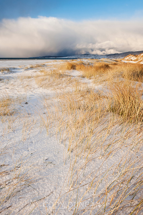 Snow covered sand dunes, Luskentyre Beach, Isle of Harris, Western Isles, Scotland
