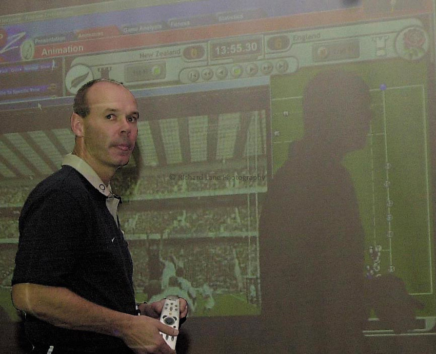 Photo: Greig Cowie.RFU Press Conference. Penny Hill Hotel. 12-11-02.Clive Woodward in an unprecedented press conference using video technology talks journalists through some things that have been on his mind