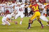 LOS ANGELES, CA-OCTOBER 29,2011- The Stanford Cardinals defeated the USC Trojans 56-48. Eric Whitaker (46) during play against USC at the L.A. Coliseum in Los Angeles, CA.