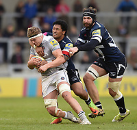 Tom Ellis of Bath Rugby is tackled. Aviva Premiership match, between Sale Sharks and Bath Rugby on May 6, 2017 at the AJ Bell Stadium in Manchester, England. Photo by: Patrick Khachfe / Onside Images
