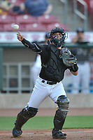 Quad Cities River Bandits catcher Cesar Salazar (10) in action against the Cedar Rapids Kernels at Veterans Memorial Stadium on April 16, 2019 in Cedar Rapids, Iowa.  The Kernels won 11-2.  (Dennis Hubbard/Four Seam Images)