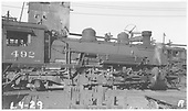 K-37 #492 in yard.  Standard Gauge #3617 visible in background.<br /> D&amp;RGW    Taken by Rogers, Donald E. A.