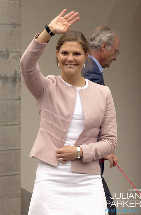 Crown Princess Victoria of Sweden celebrates her 27th birthday at Solliden, near Borgholm, accompanied by King Carl Gustav, Queen Silvia.