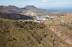 View over countryside to Monte Corona volcano cone, village of Haria, Lanzarote, Canary Islands, Spain