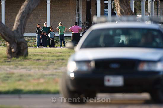 San Angelo - FLDS members taken from the YFZ Ranch arrive at Fort Concho in San Angelo, which will be used as a temporary shelter.