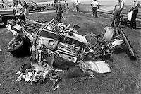INDIANAPOLIS, IN - MAY 24: The wreckage of Danny Ongais' Interscope 81/Cosworth following his devastating crash during the Indianapolis 500 USAC/CART Indy Car race at the Indianapolis Motor Speedway in Indianapolis, Indiana, on May 24, 1981.