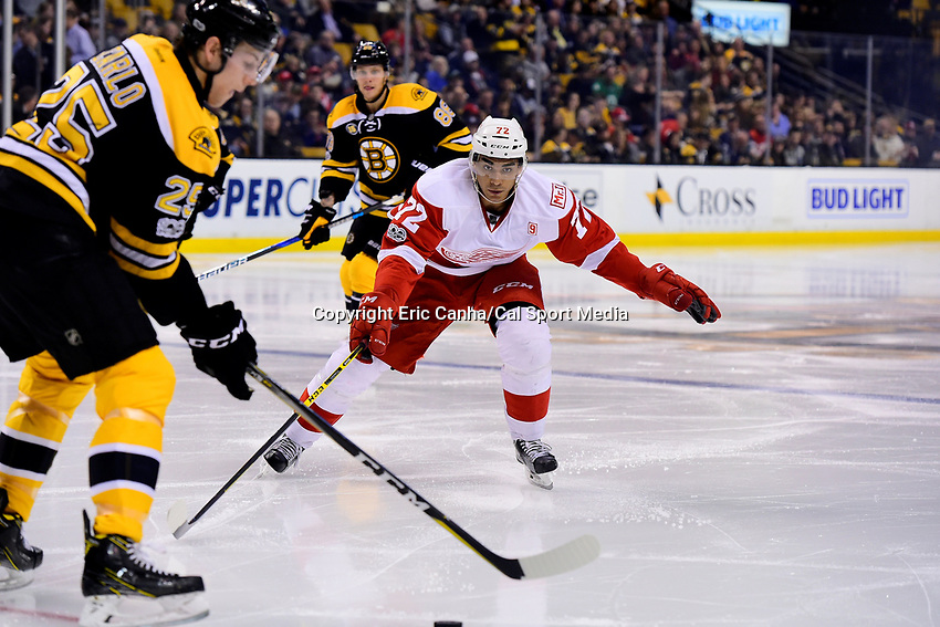 Wednesday, March 8, 2017: Detroit Red Wings center Andreas Athanasiou (72). works to block Boston Bruins defenseman Brandon Carlo (25) during the National Hockey League game between the Detroit Red Wings and the Boston Bruins held at TD Garden, in Boston, Mass.  Boston defeats Detroit 6-1 in regulation time. Eric Canha/CSM