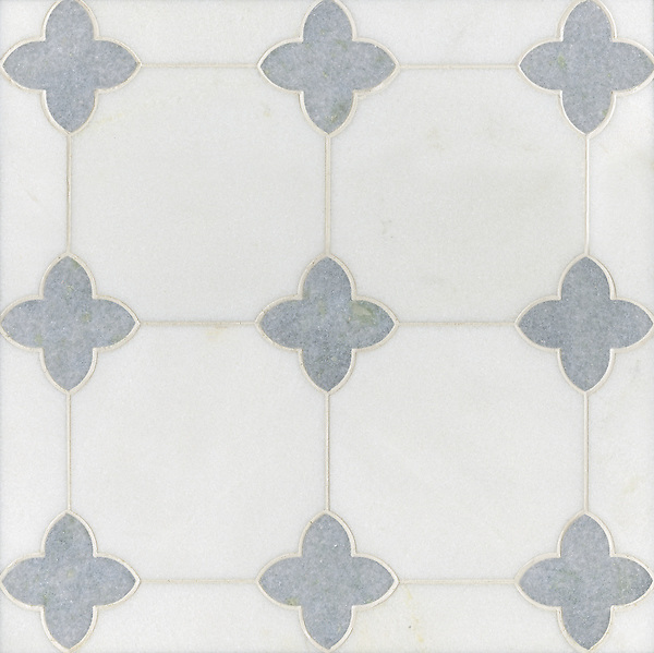 Greta, a stone water jet mosaic, shown in Thassos and Celeste, is part of the Ann Sacks Beau Monde collection sold exclusively at www.annsacks.com