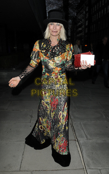 VIRGINIA BATES.'An Evening at the Sanderson' celebrating 10 years, at the Sanderson Hotel, London, England. .April 27th 2010.full length maxi dress black hat beads floral print fringe lace beads beaded long sleeves red clutch bag orange yellow green.CAP/CAN.©Can Nguyen/Capital Pictures.