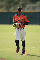San Francisco Giants center fielder Heliot Ramos (31) jogs off the field between innings of an Instructional League game against the Kansas City Royals at the Giants Training Complex on October 17, 2017 in Scottsdale, Arizona. (Zachary Lucy/Four Seam Images)