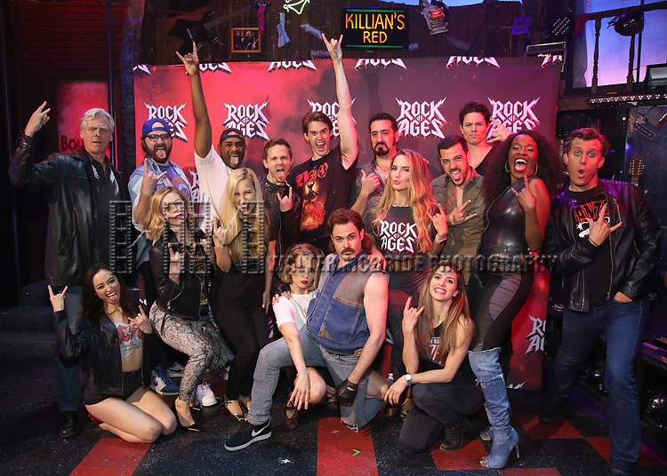 """Tom Galantich, Ashley E. Matthews, Justin Colombo, Kirsten Scott, Mekhai Lee, Tiffany Engen, Dane Biren, Leah Read, CJ Eldred, Mitchell Jarvis, Matt Ban, Katie Webber, Autumn Guzzardi, Kevin Michael Raponey, Michael Mahany, Jeannette Bayardelle and PG Griffith during the tech rehearsal for """"Rock of Ages"""" 10th Anniversary Production on June 13, 2019 at the New World Stages in New York City."""
