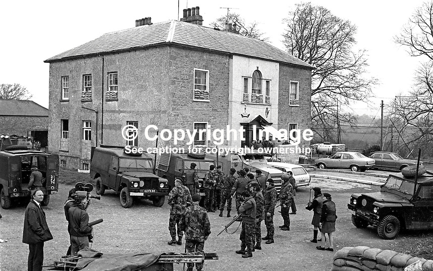 Scene at UDR base in Clogher, Co Tyrone, N Ireland, the morning after the Provisional IRA gun and rocket attack on the evening of 2nd May 1974 in  which Eva Martin, 28 years, married, and a member of the Tyrone Battalion died. Her husband was also on duty at the same time. Eva Martin was first female member of the security forces to die in the Troubles,197405020264A..Copyright Image from Victor Patterson, 54 Dorchester Park, Belfast, United Kingdom, UK...For my Terms and Conditions of Use go to http://www.victorpatterson.com/Victor_Patterson/Terms_%26_Conditions.html