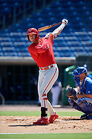 Philadelphia Phillies third baseman Alec Bohm (18) takes a practice swing in front of catcher Hagen Danner (26) during a Florida Instructional League game against the Toronto Blue Jays on September 24, 2018 at Spectrum Field in Clearwater, Florida.  (Mike Janes/Four Seam Images)