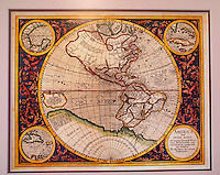Antique map of the Americas made by Michael Mercator in 1628, Museo Historico Naval or Naval History Museum, city of Veracruz, Mexico