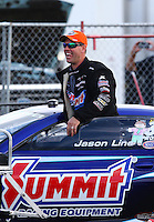 Nov 15, 2014; Pomona, CA, USA; NHRA pro stock driver Jason Line during qualifying for the Auto Club Finals at Auto Club Raceway at Pomona. Mandatory Credit: Mark J. Rebilas-USA TODAY Sports