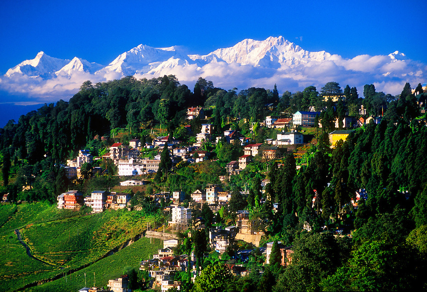View of Darjeeling with Himalayas in background (Kanchenjunga, third highest peak in the world), Darjeeling, West Bengal, India