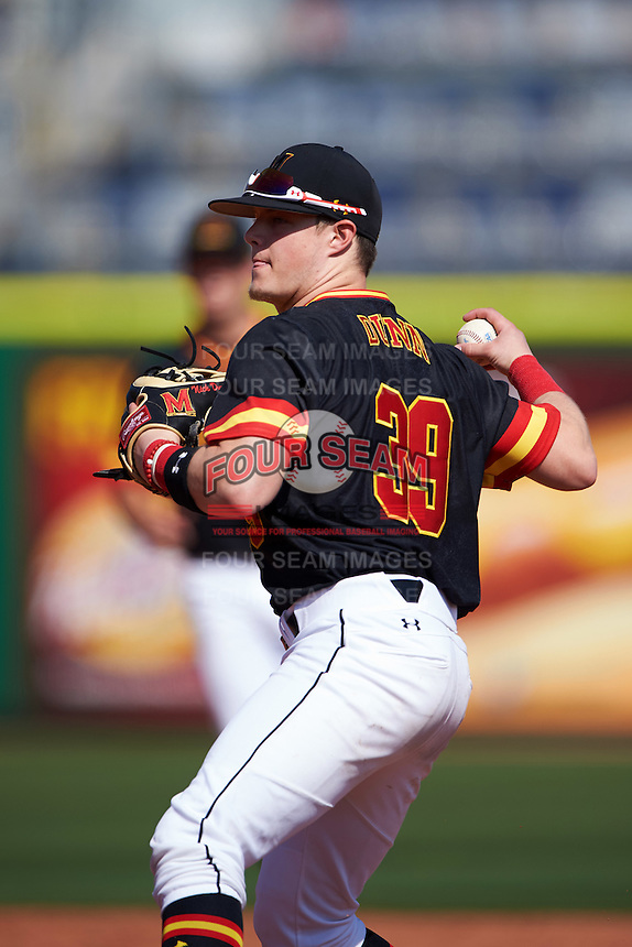 Maryland Terrapins second baseman Nick Dunn (39) throws to first base during a game against the Alabama State Hornets on February 19, 2017 at Spectrum Field in Clearwater, Florida.  Maryland defeated Alabama State 9-7.  (Mike Janes/Four Seam Images)