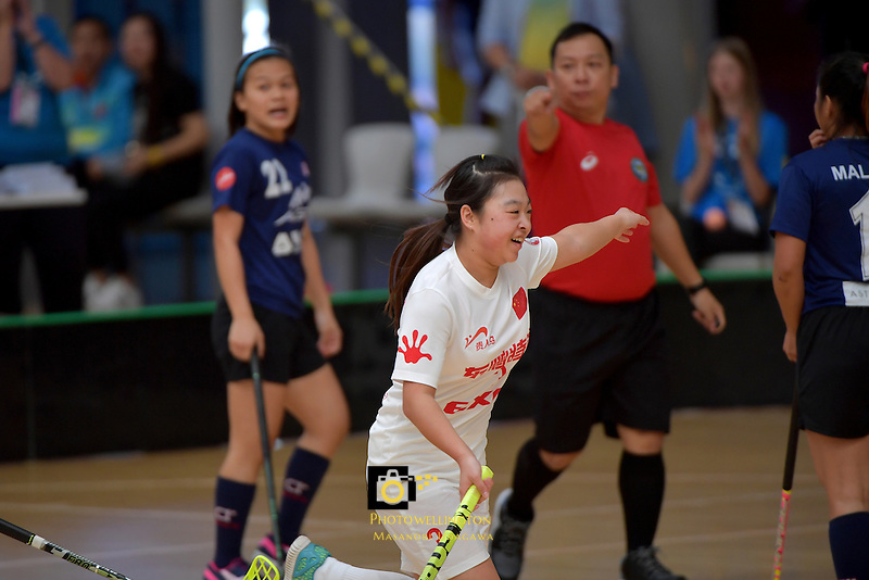 China's Xin Ql in action during the World Floorball Championships 2017 Qualification for Asia Oceania Region - Malaysia v China at ASB Sports Centre , Wellington, New Zealand on Sunday 5 February 2017.<br /> Photo by Masanori Udagawa<br /> www.photowellington.photoshelter.com.