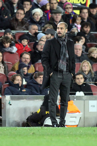 22.01.2011 Spanish La Liga from the Nou Camp. Barcelona v Racing Santander..Guardiola during the match