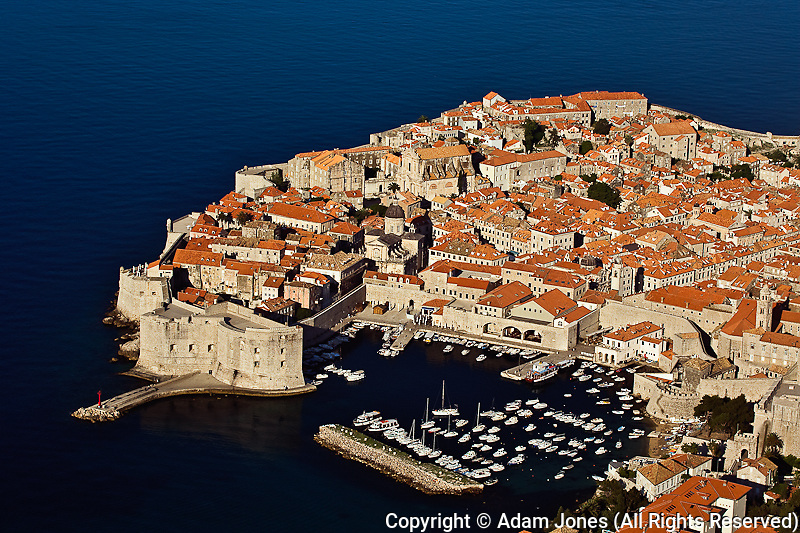Elevated view of Dubrovnik in southern coast of Croatia on the Adriatic Sea, UNESCO World Heritage Site