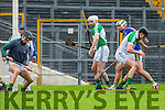 Kerry full forward Mikey Boyle hits the back of  Limerick's net to score Kerrys goal in their NHL Div 1B clash in Fitzgerald Stadium on Sunday