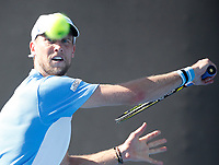 14th January 2019, Melbourne Park, Melbourne, Australia; Australian Open Tennis, day 1; <br /> Andrea Seppi of Italy  returns a ball during a match against Steve Johnson of USA