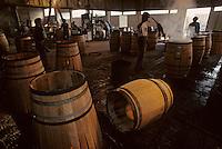 Europe/France/Poitou-Charentes/16/Charente/Cognac/Tonnellerie Seguin Moreau: Chauffe de cintrage<br /> PHOTO D'ARCHIVES // ARCHIVAL IMAGES<br /> FRANCE 1990